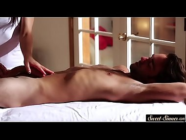 Cocksucking MILF masseuse loves cockriding