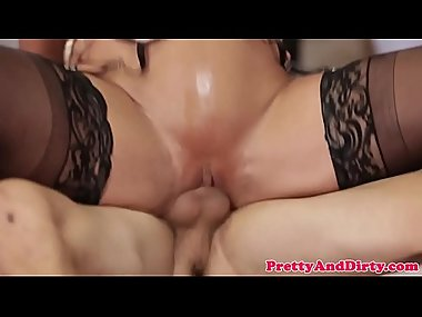 Glam cougar sucking and riding big dick