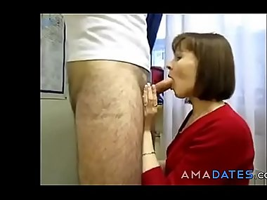 Stepmom gives boy a blowjob