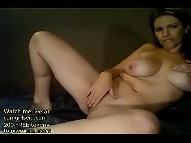 Blonde Milf with huge boobs masturbates - Live..