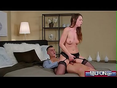 Creampie MILF brunette in stockings(Caroline..
