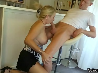 Huge Dick Boy Seduce German Big Tit MILF to Fuck