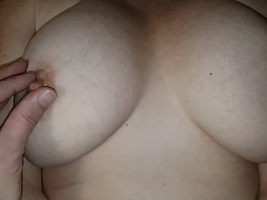 Big Titty Play in Bed - Perfect Titted Wife and Mom plays with tits!