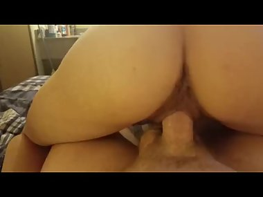 Skinny milf with a super tight pussy rides me..