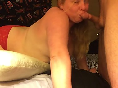SEXY BLONDE GF SUCKING/DEEP THROATING MY BIG..