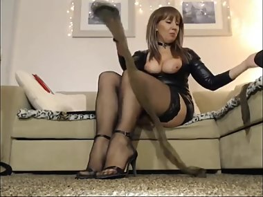 Milf Showing off her feet and stockings