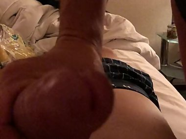 Big, throbbing dick explodes in her hand
