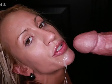 Blonde milf swallows 13 loads of cum