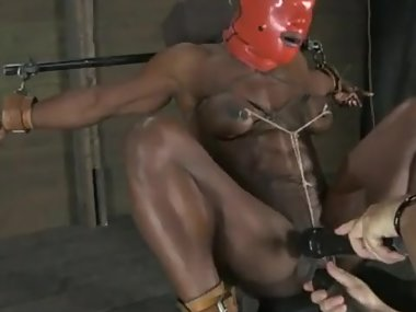 Masked bound ebony Milf, huge clit, hard orgasms