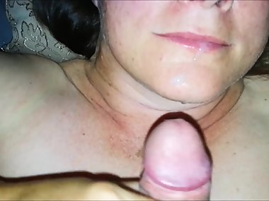Wife plays with her pussy before swallowing my cum