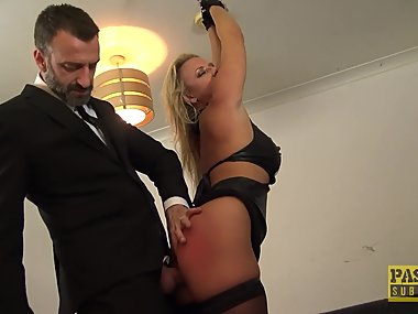 British skank Sasha Steele throated and fucked hard in ass