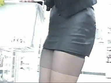 mini skirt at convenience store