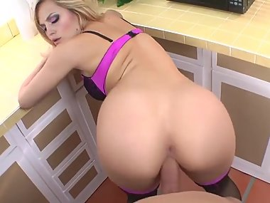 sexy blonde fucked in the kitchen POV