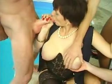 Big Hanging Tits Granny MILF Anal Gang Fucked..