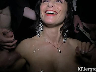 Cum slut Milf sucks strangers cocks in sex cinema