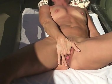 MILF with Large Elusive Labia Play on the Patio