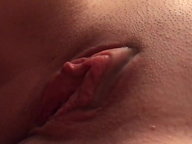 Jerking cum on her beautiful shaved pussy