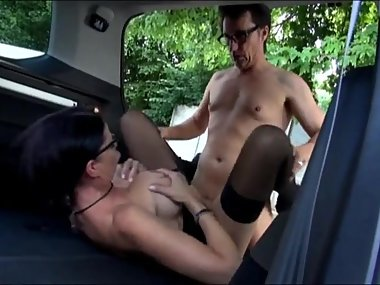 Tattooed German Milf Fucked In The Back of a Car